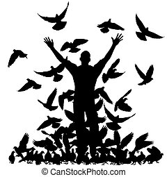 Pigeon man - Vector silhouette of a man and flock of pigeons...