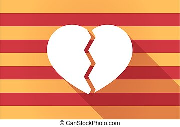 Long shadow Catalonia vector flag with a broken heart -...