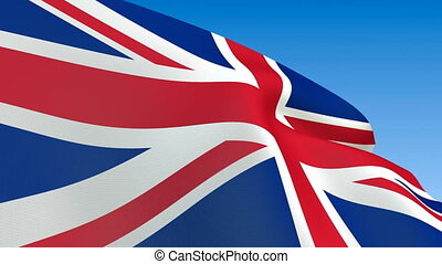 Waving Great Britain flag - Seamless loop waving Great...
