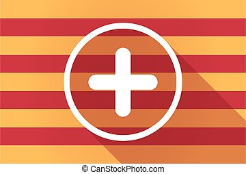 Long shadow Catalonia vector flag with a sum sign -...