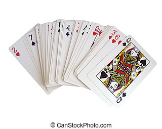 Playing cards on a white background