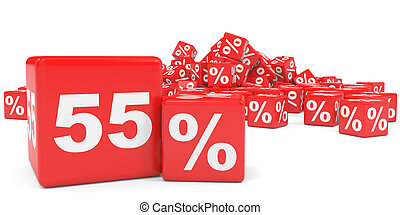 Red sale cubes Fifty five percent discount 3D illustration...