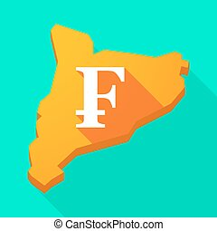 Catalonia long shadow vector icon map with a swiss franc...