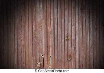 Weathered Cracked Brown Old Wood Plank Panel With Black Vignette