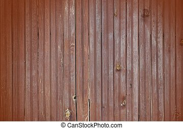 Weathered Cracked Brown Old Wood Plank Panel With Brownish Vignette