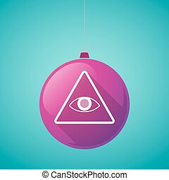 Long shadow vector christmas ball icon with an all seeing...