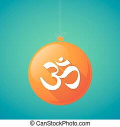 Long shadow vector christmas ball icon with an om sign -...