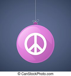 Long shadow vector christmas ball icon with a peace sign -...