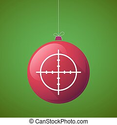 Long shadow vector christmas ball icon with a crosshair -...