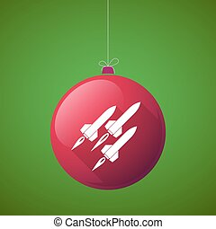 Long shadow vector christmas ball icon with missiles -...