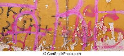 Urban Concrete Graffiti Wall With Peeled Paint And Ripped...