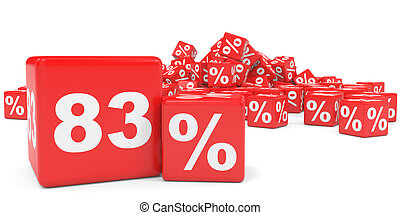 Red sale cubes Eighty three percent discount 3D illustration...