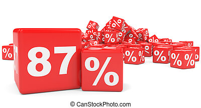 Red sale cubes Eighty seven percent discount 3D illustration...
