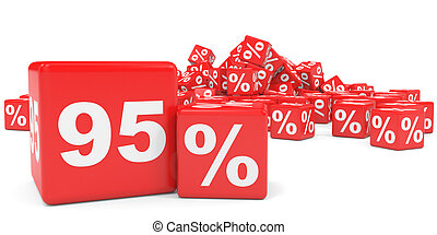Red sale cubes Ninety five percent discount 3D illustration...