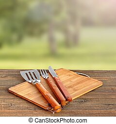Cookout, Picnic Or BBQ Party Concept With Grill Tools On The...