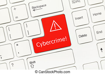 White conceptual keyboard Cybercrime - Close-up view on...