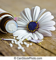 Flowers on wooden table