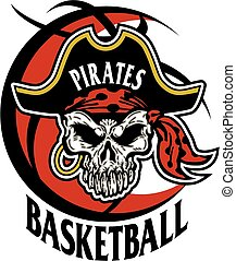 pirates basketball team design with pirate skull inside a...