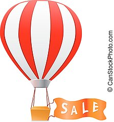 aerostat with sale banner.Vector illustration