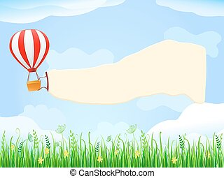 Balloon in Blue Sky with Placard Copy Space - Hot Air...