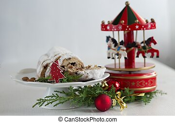 Christmas cake - Stollen, bauble and carousel music box