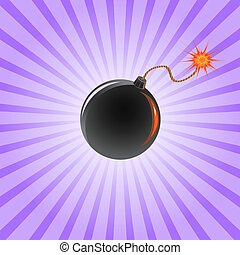 bomb-line - black bomb with burning fuse on violet striped...