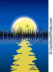 grass-meadow-yellow3 - Yellow moon with reflection at water...