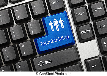 Conceptual keyboard Teambuilding - Close-up view on...