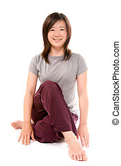 yoga excise - Excise of yoga of sport woman on white...