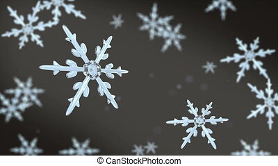 snowflakes focusing 4K black white - Ice crystal snowflakes...