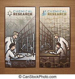 Chemical Flyer - Chemical vector card design with scientists...