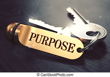 Purpose - Bunch of Keys with Text on Golden Keychain Black...