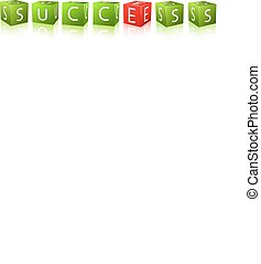 word success combines of cubes with letter