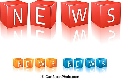Letter cubes composed in word news Vector illustration...