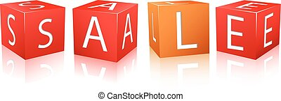 red and orange cube with sale letters