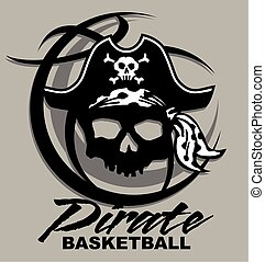 pirate basketball team design with pirate skull inside a...