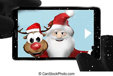 Santa Claus and Reindeer taking selfie photo