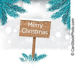 Christmas Background with Snow Covered Wooden Billboard -...