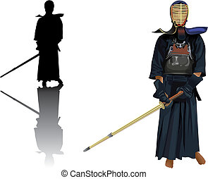 Kendo warrior - Kendo traditional warrior pose in costume...