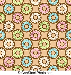 donuts seamless pattern vector illustration - eps 8