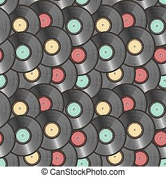 vinyl records seamless background vector illustration - eps...