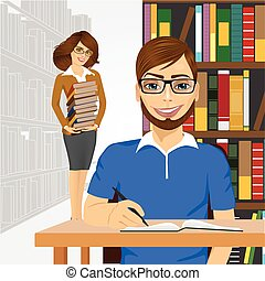 student styding in the college library