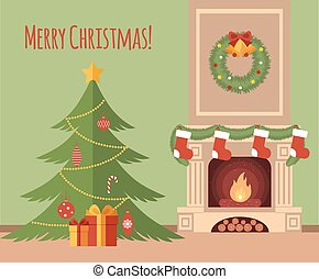 Christmas tree by the fireplace illustration made in flat...