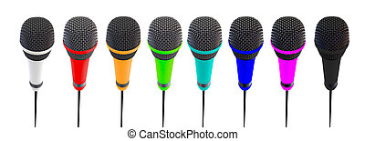 Several microphones aligned and colored. Microphones stand...