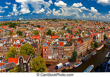Amsterdam city view from Westerkerk, Holland, Netherlands -...
