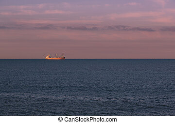 Merchant ship - Seascape with a merchant ship in the...