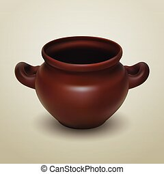 Crock - Realistic vector clay pot, traditional European...