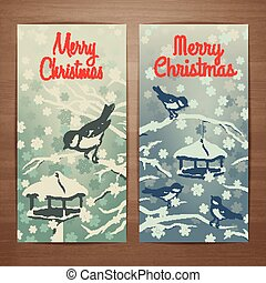 Tomtit flyer - Christmas vector card design with titmouses...