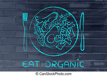 eat organic: healthy plate filled with mixed vegetables -...