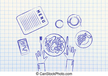 restaurant table with healthy food flat illustration -...